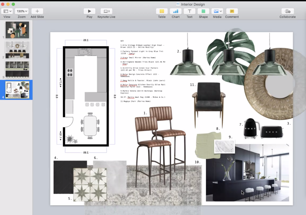 Interior design presentation from one of the students from the April 2020 class