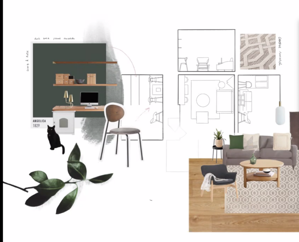 Interior design presentation board done online by a student for her living room