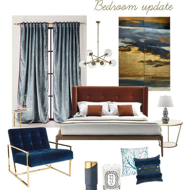 concept board for an interior design of a bedroom