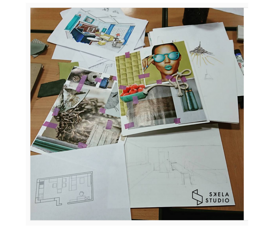 Interior design moodboard done on one of our workshops