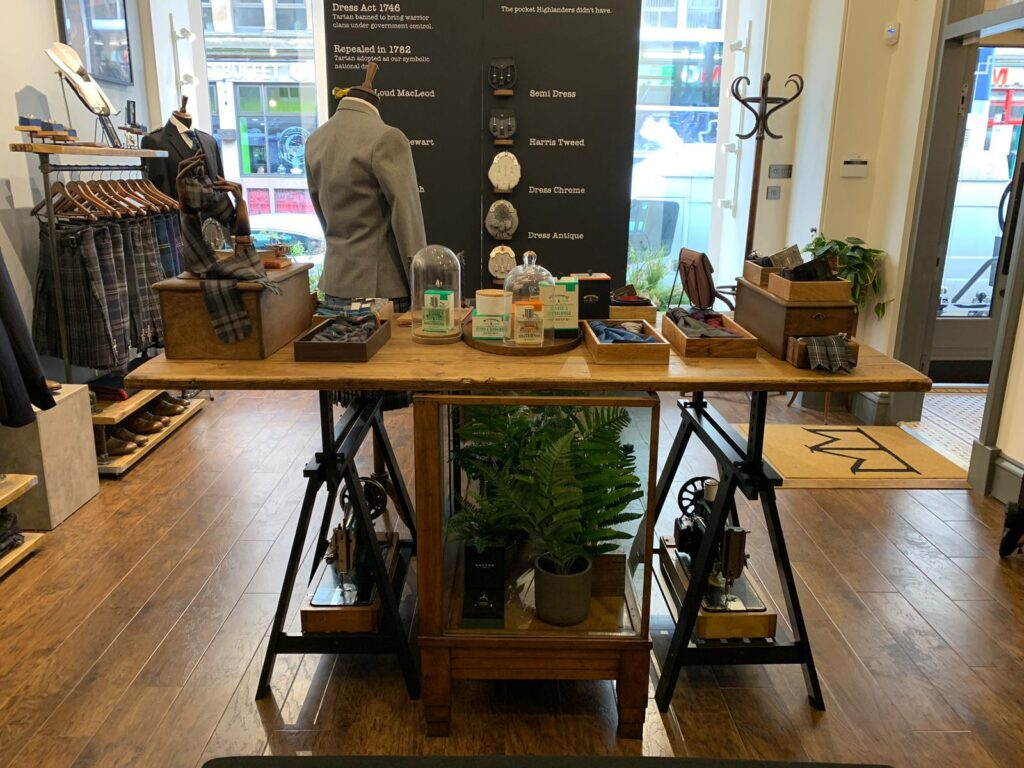 Shop design in Bath Street, Glasgow. Interior of the shop with industrial elements and greenery
