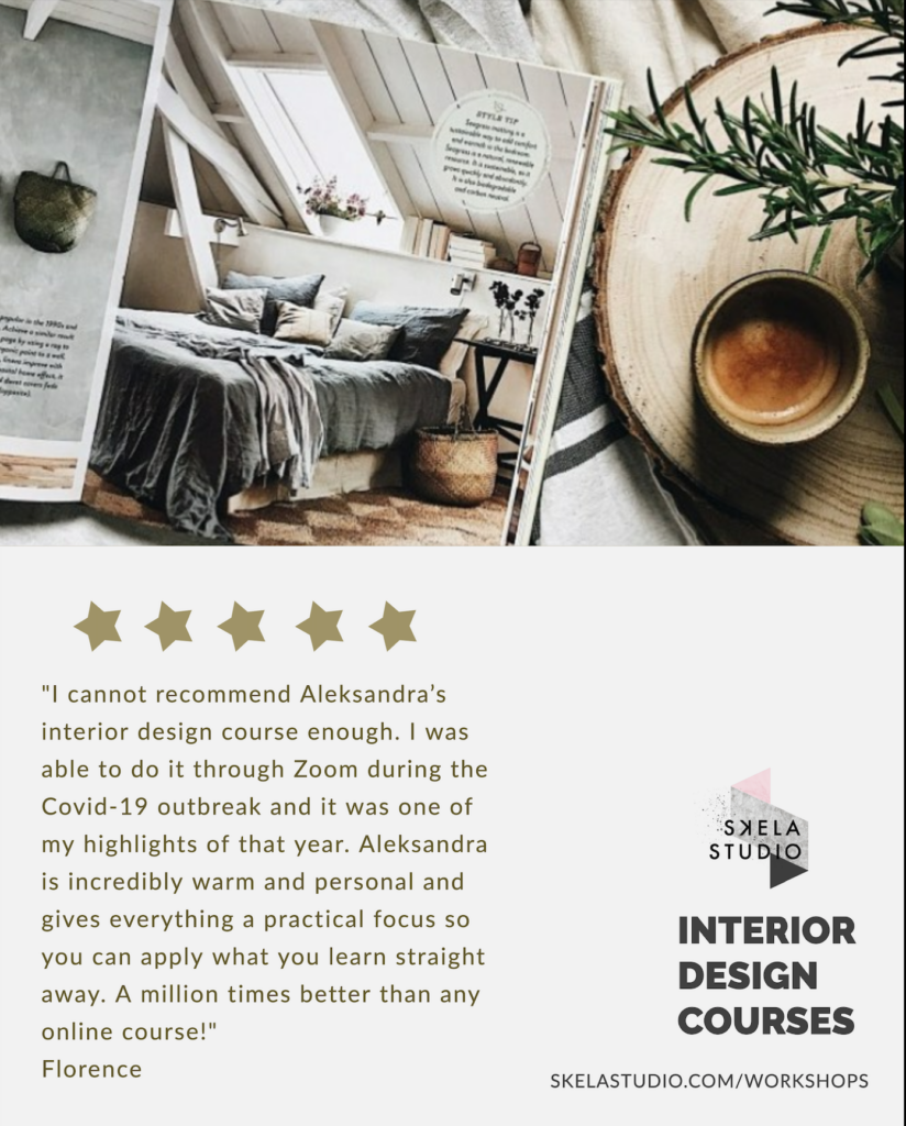 We have all five star reviews for our  interior design workshops and courses